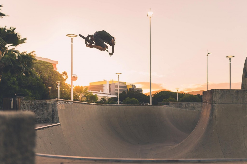 BMX rider Levi Jackonia at the Cairns Skatepark during sunset