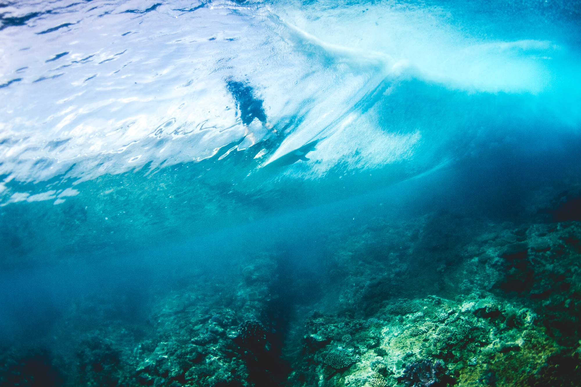 Beneath the wave with surfer at resturants surf break in Fiji