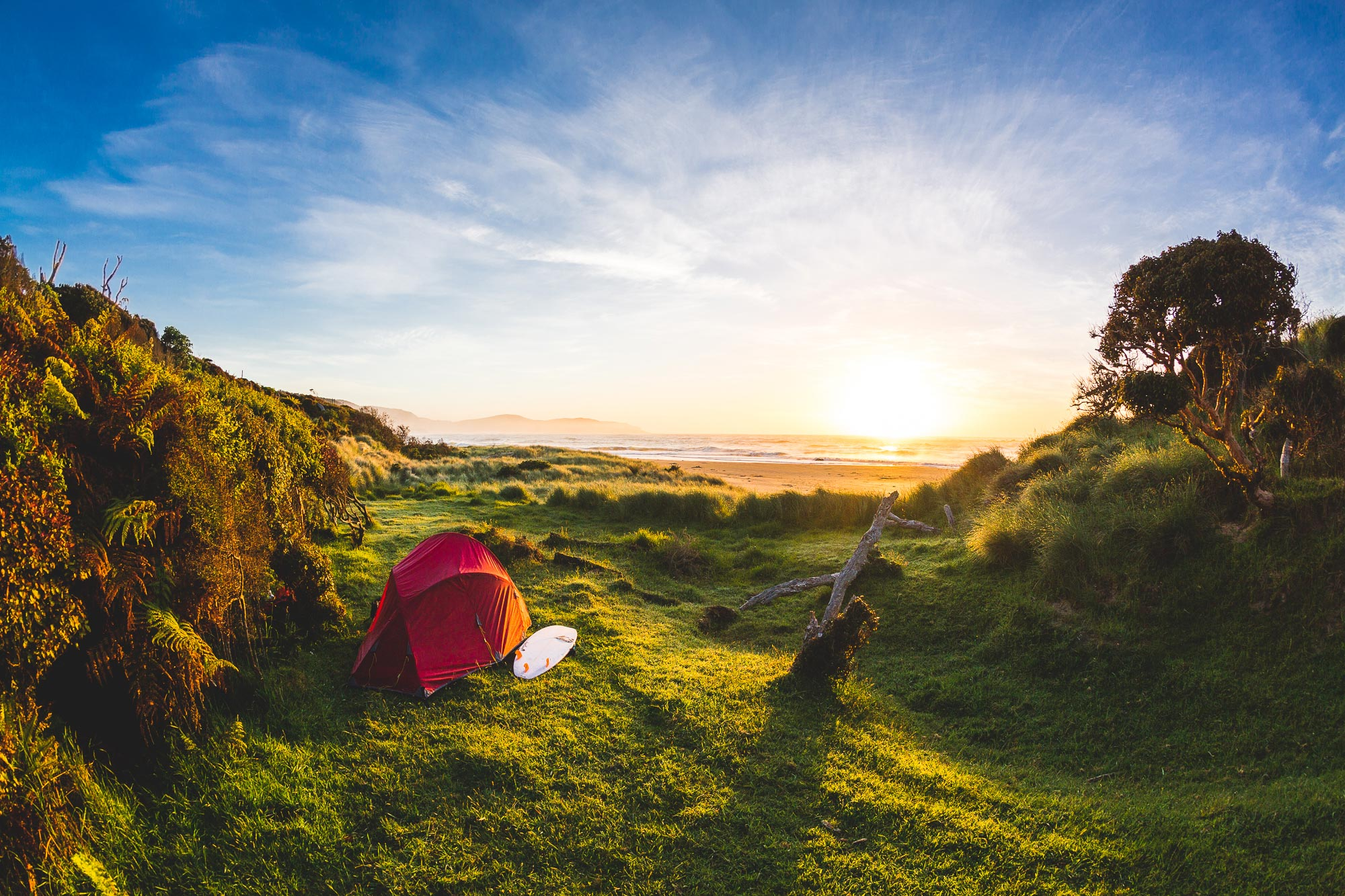 Camping at the beach in New Zealand