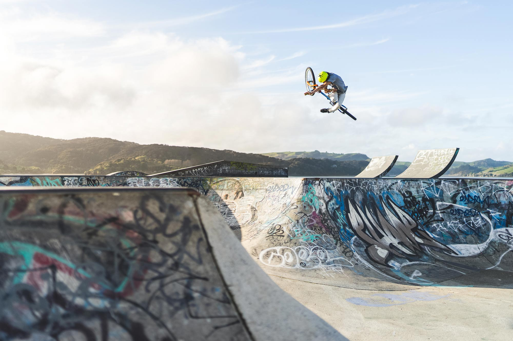Mountain biker Lewis jones jumping at Raglan skatepark