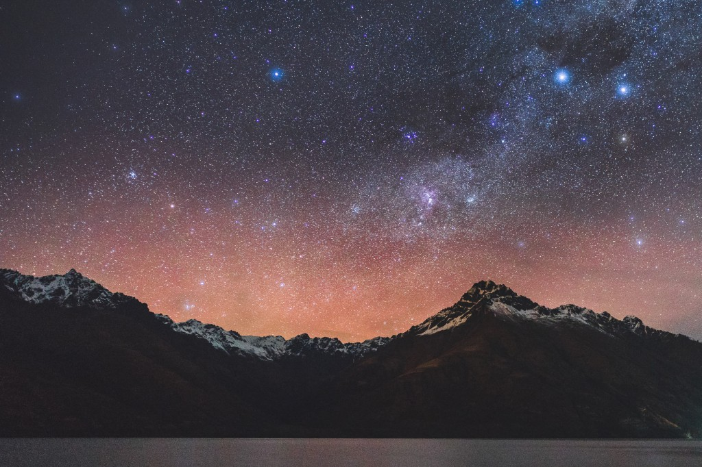 Stars over Walter Peak in Queenstown, NZ