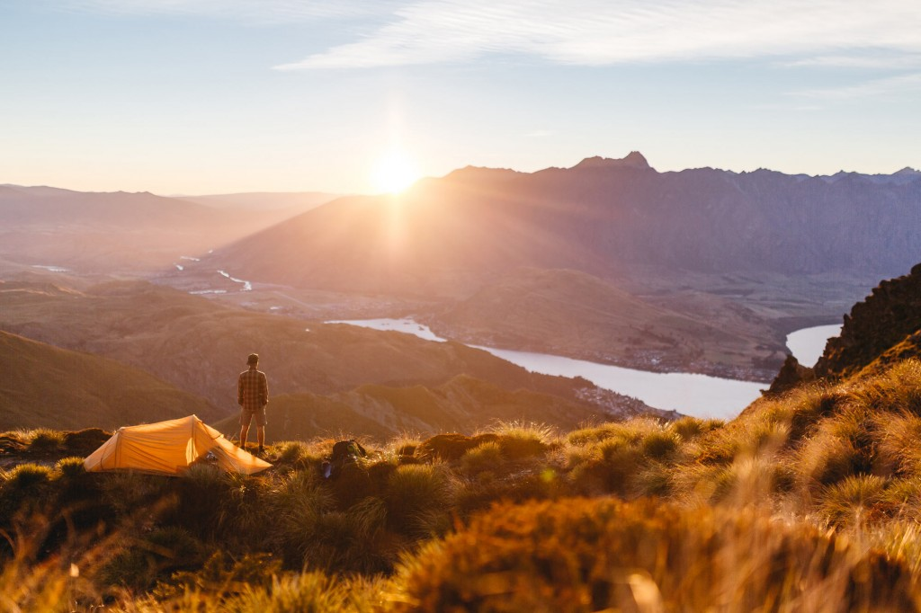 Sunrise over Queenstown after camping up Ben Lomond