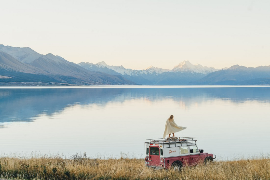 Dancing to the views of Mount Cook over Lake Pukaki on top of the DeuceRover.