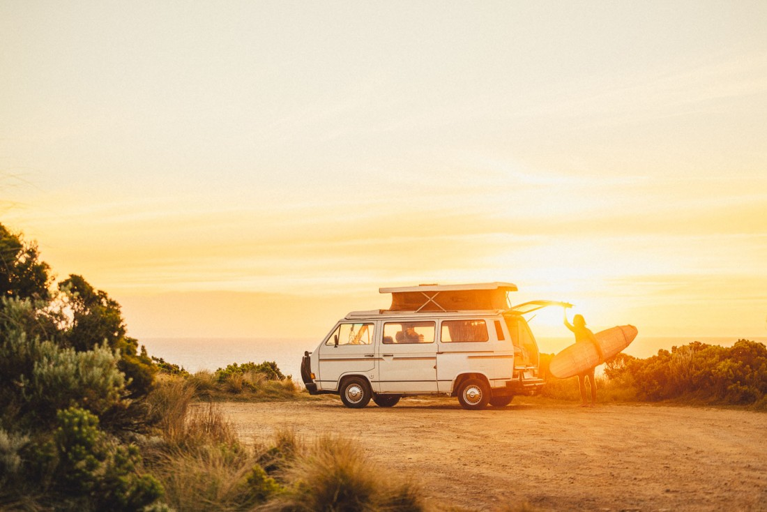 Stefan Haworth taking the surfboard out the back of the Will and Bear Volkswagen van. Photo by Sony Ambassador Stefan Haworth