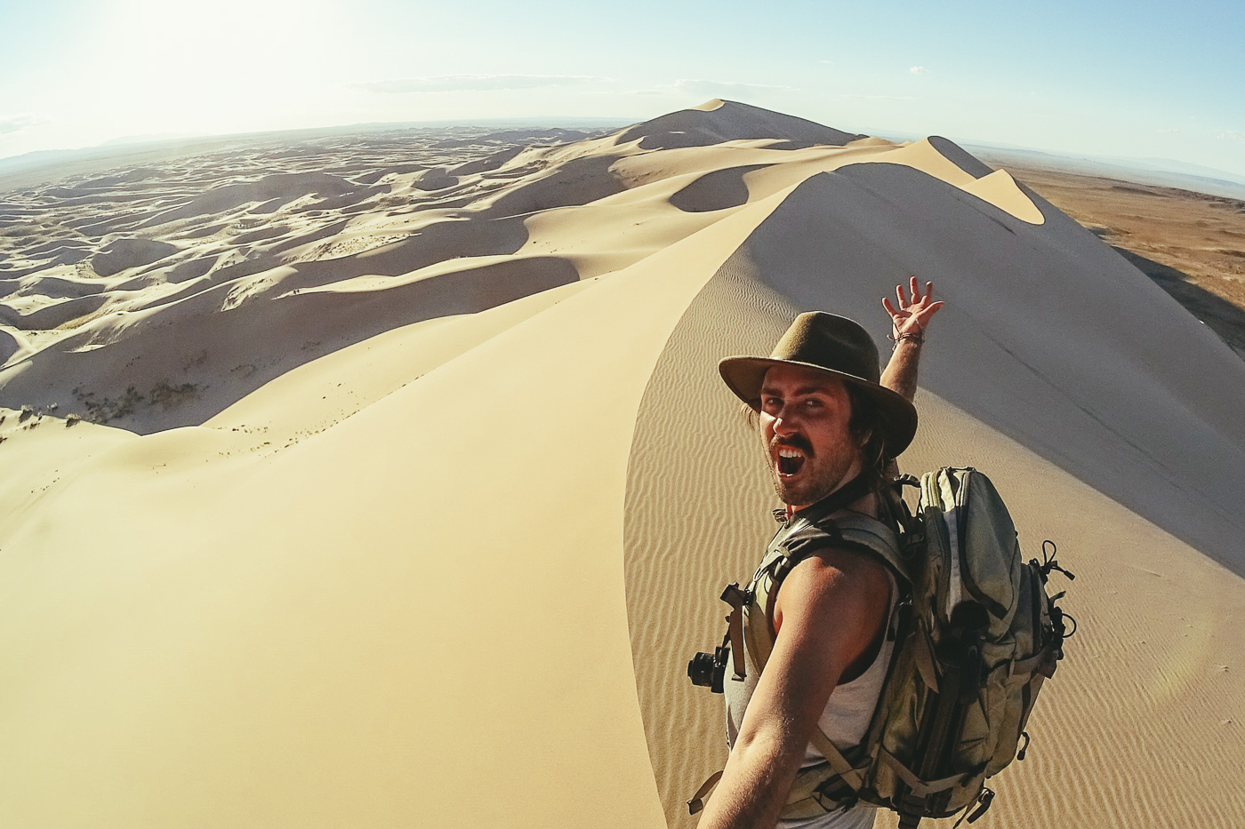 Stefan Haworth on worlds largest sand dune Khongoryn Els in Mongolia