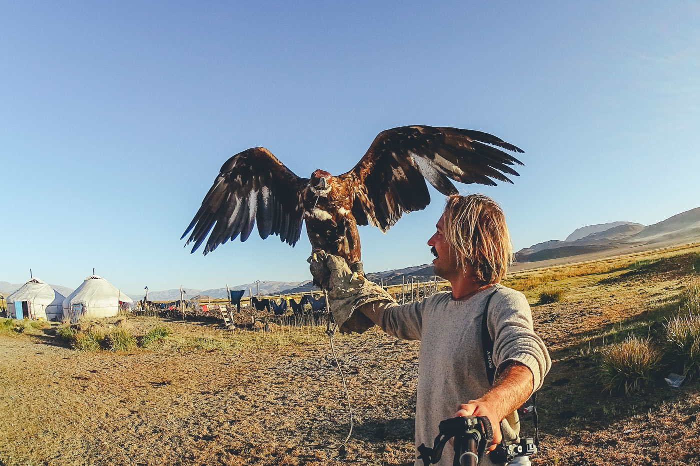 Stefan Haworth holding eagle in Mongolia with Sony Action Camera