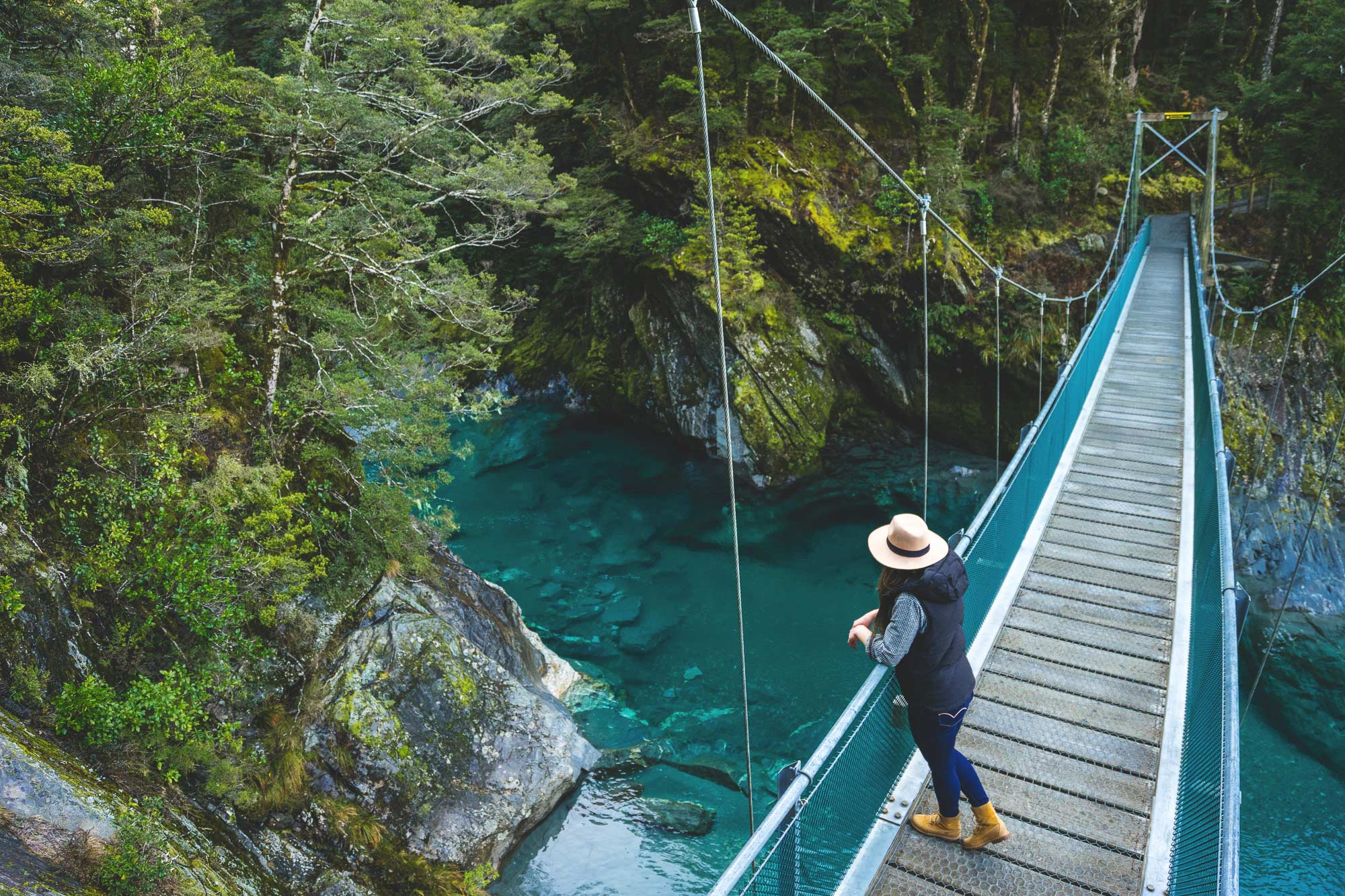 Bridge overlooking Blue pools in Wanaka, NZ