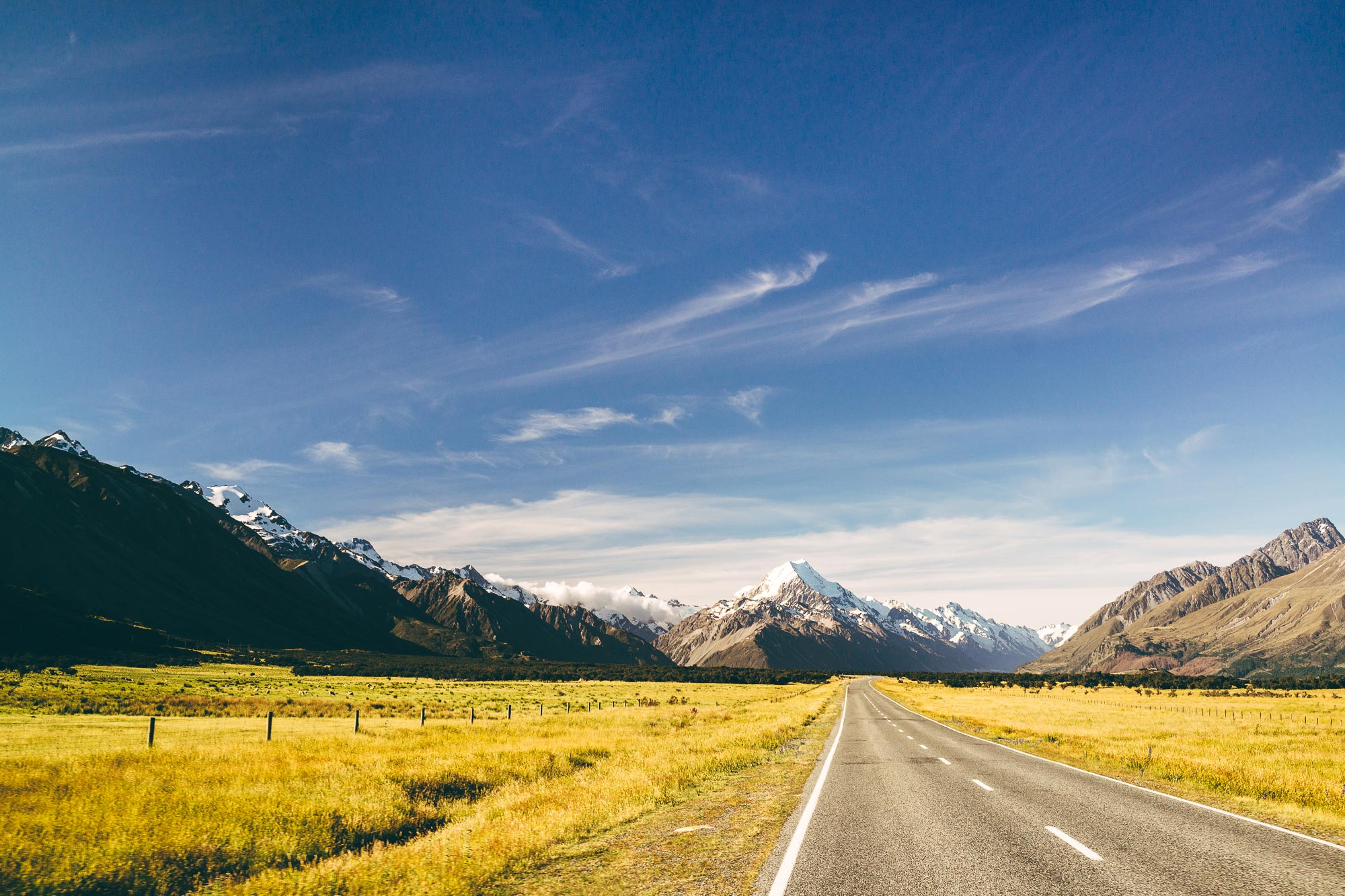 Taking the scenic highway to Mt Cook in New Zealand