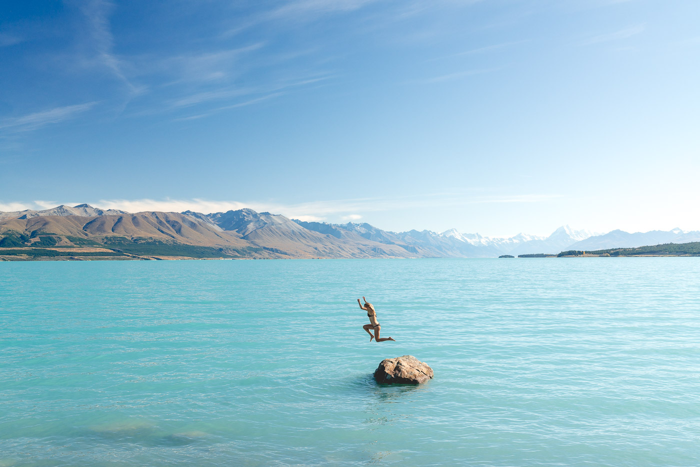 Morning swim in Lake Pukaki in the Mount Cook National park.