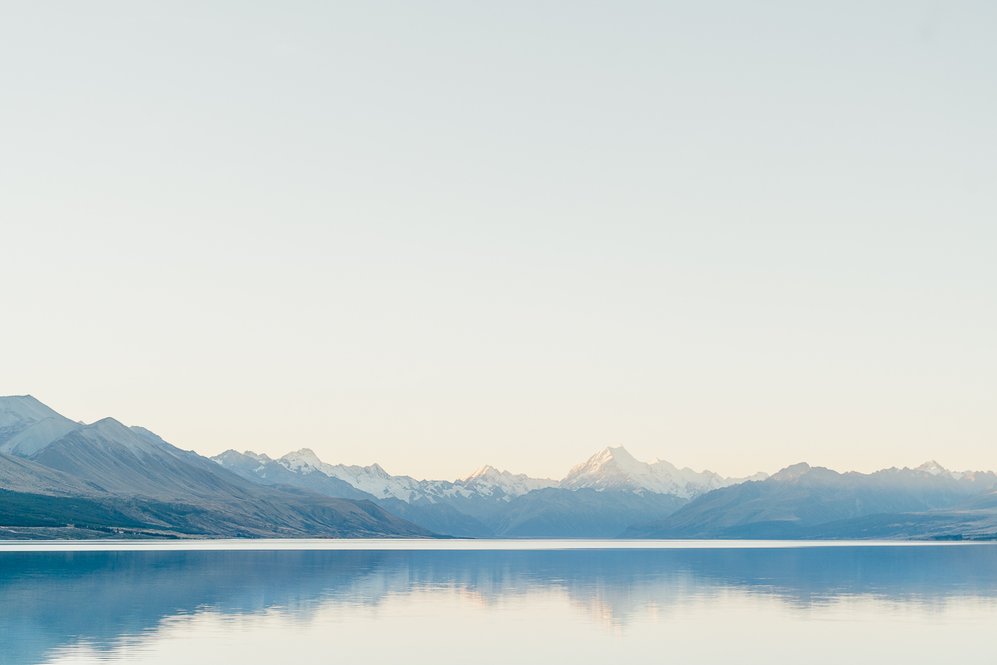 Reflection of Mount Cook on Lake Pukaki at Sunset.