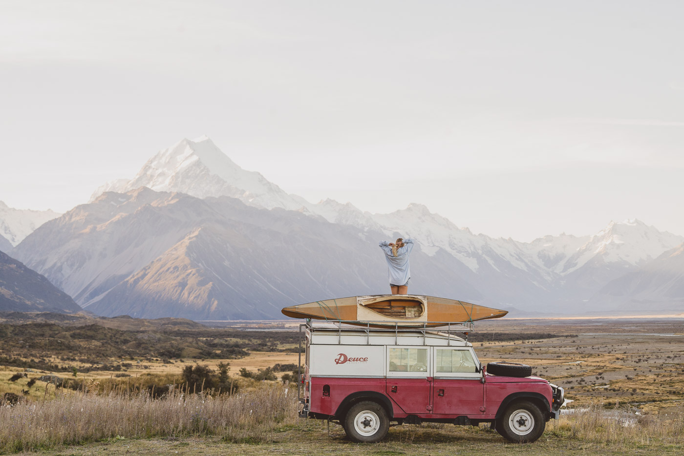 DeuceRover with Kayak on the roof enjoying the scenics of Mount Cook.