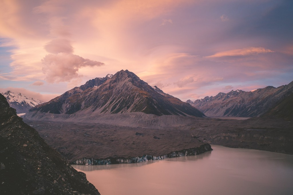 Tasman glacier at sunset in the Mount Cook National Park.