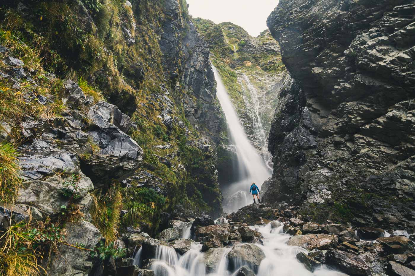 Geoff Reid exploring the waterfalls in Mount Cook National Park