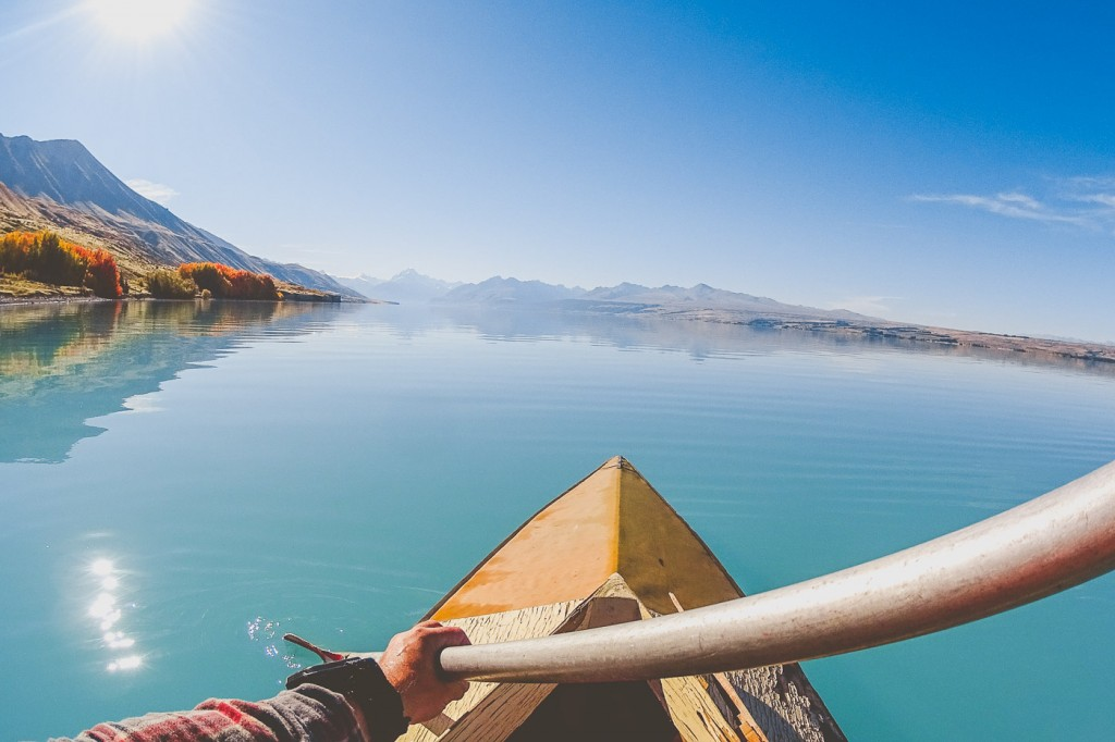 Stefan Haworth Kayaking on perfectly mirrored Lake Puakaki with Sony Action Cam