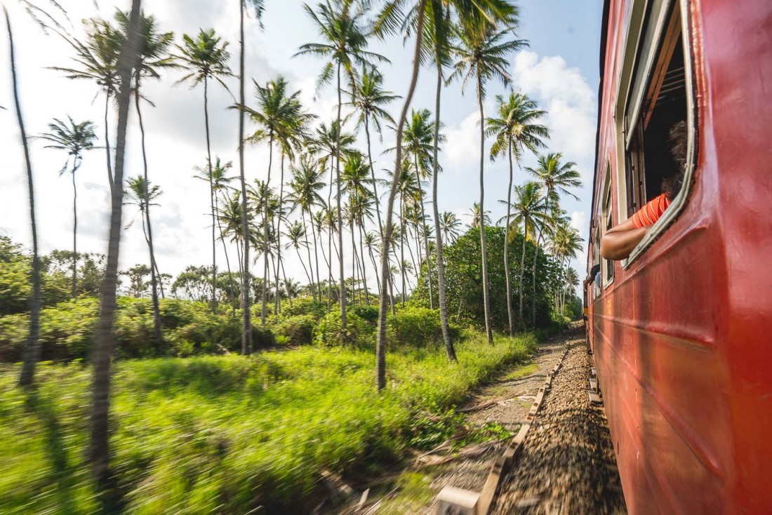 Tropical seaside train views in Sri Lanka. Photo by Sony Ambassador Stefan Haworth