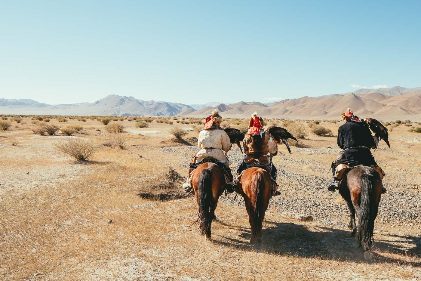 Horse riding with Mongolian Eagle hunters