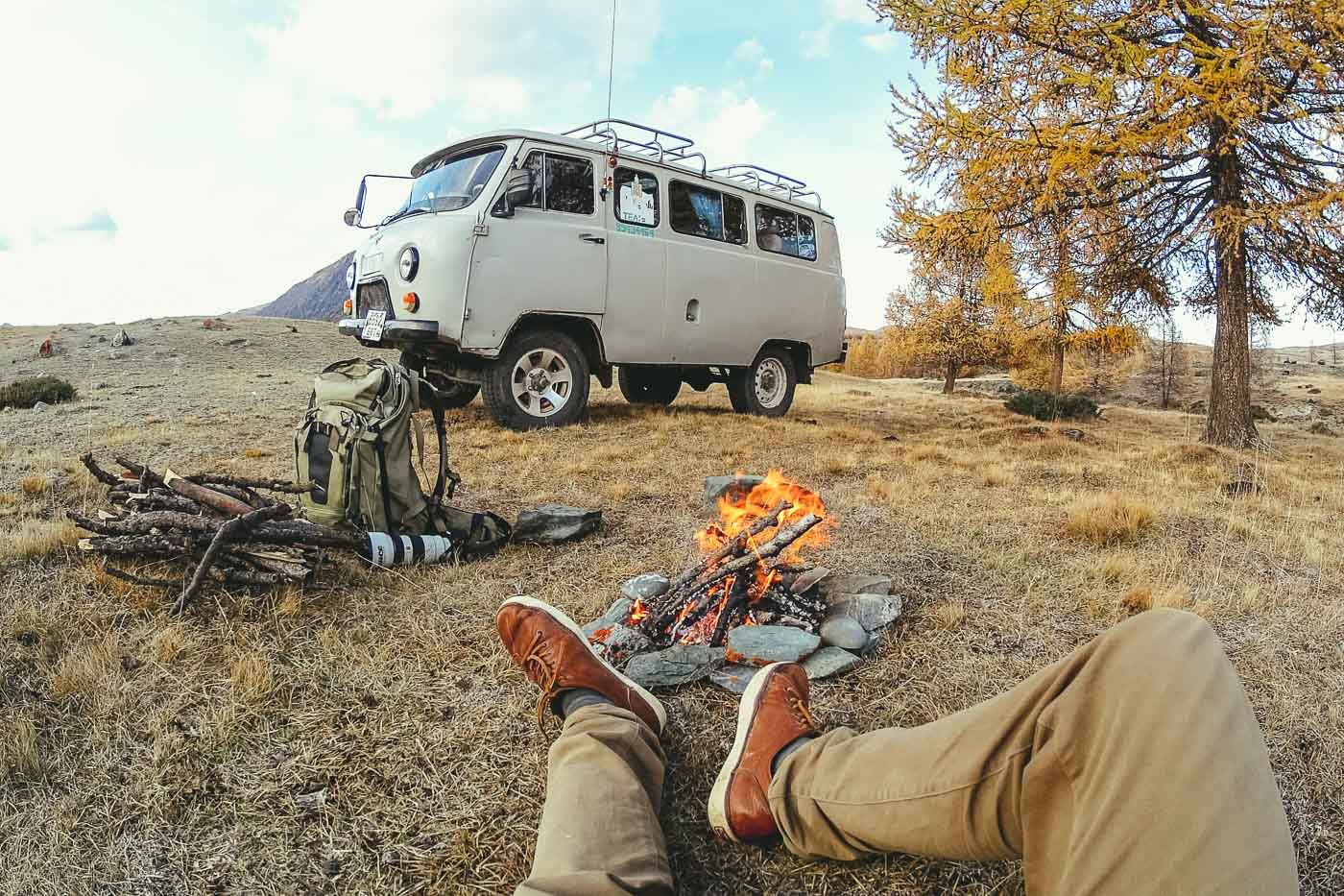 campfire next to the van in the Alta Mountains of Mongolia