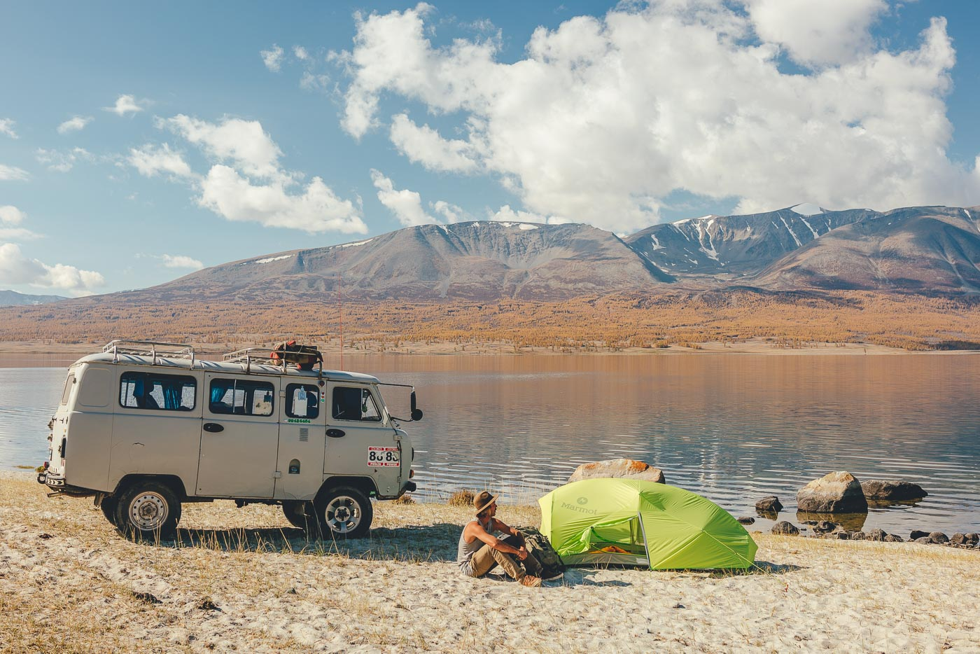 camping next to the lake in Mongolia