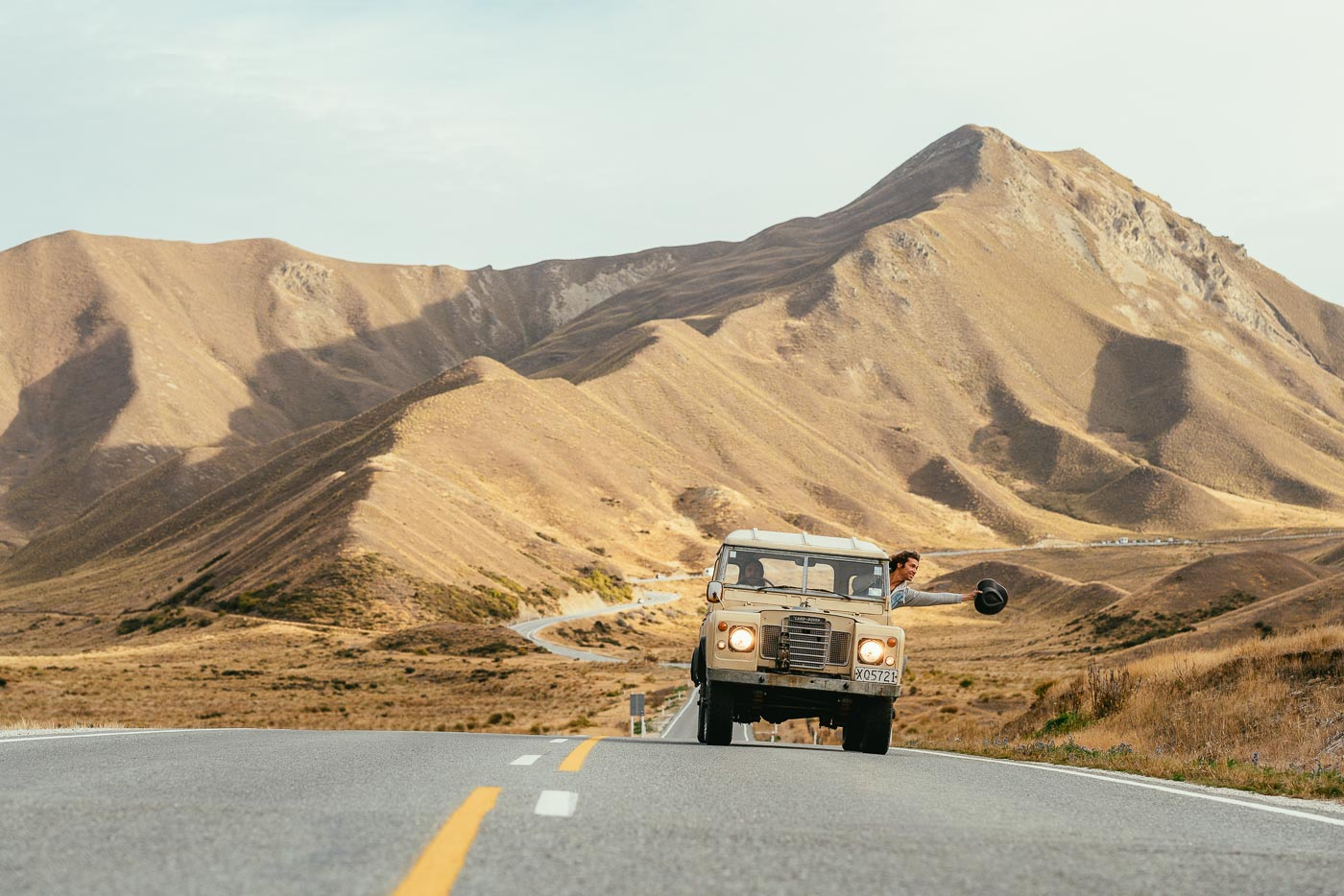 Driving a land rover Lindis Pass New Zealand