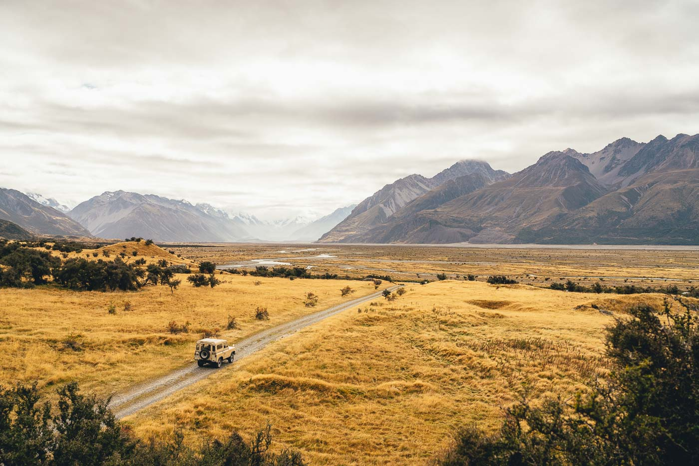 Land Rover Driving through the Mount Cook National Park, NZ