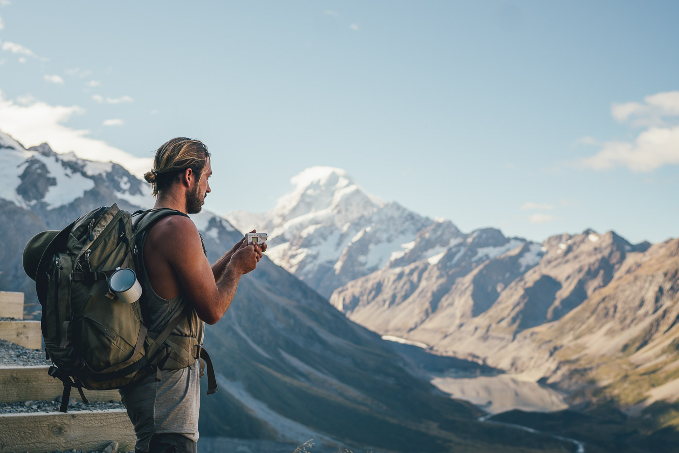 Photographer Stefan Haworth Filming on the Sony Action cam at Mount Cook, New Zealand