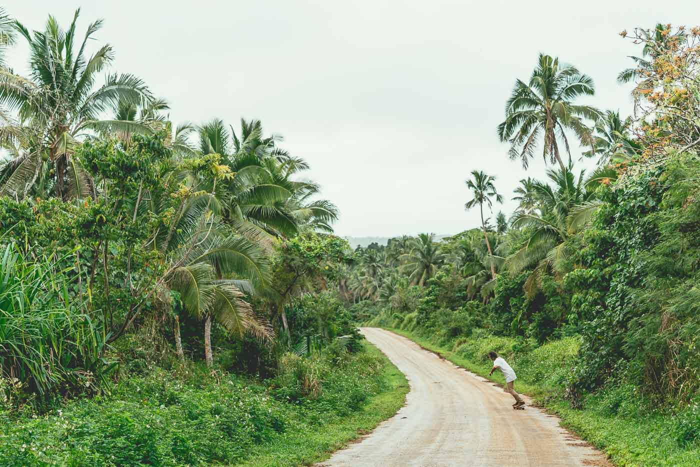 Photographer Stefan Haworth dodging potholes and skating in Vava'u Tonga