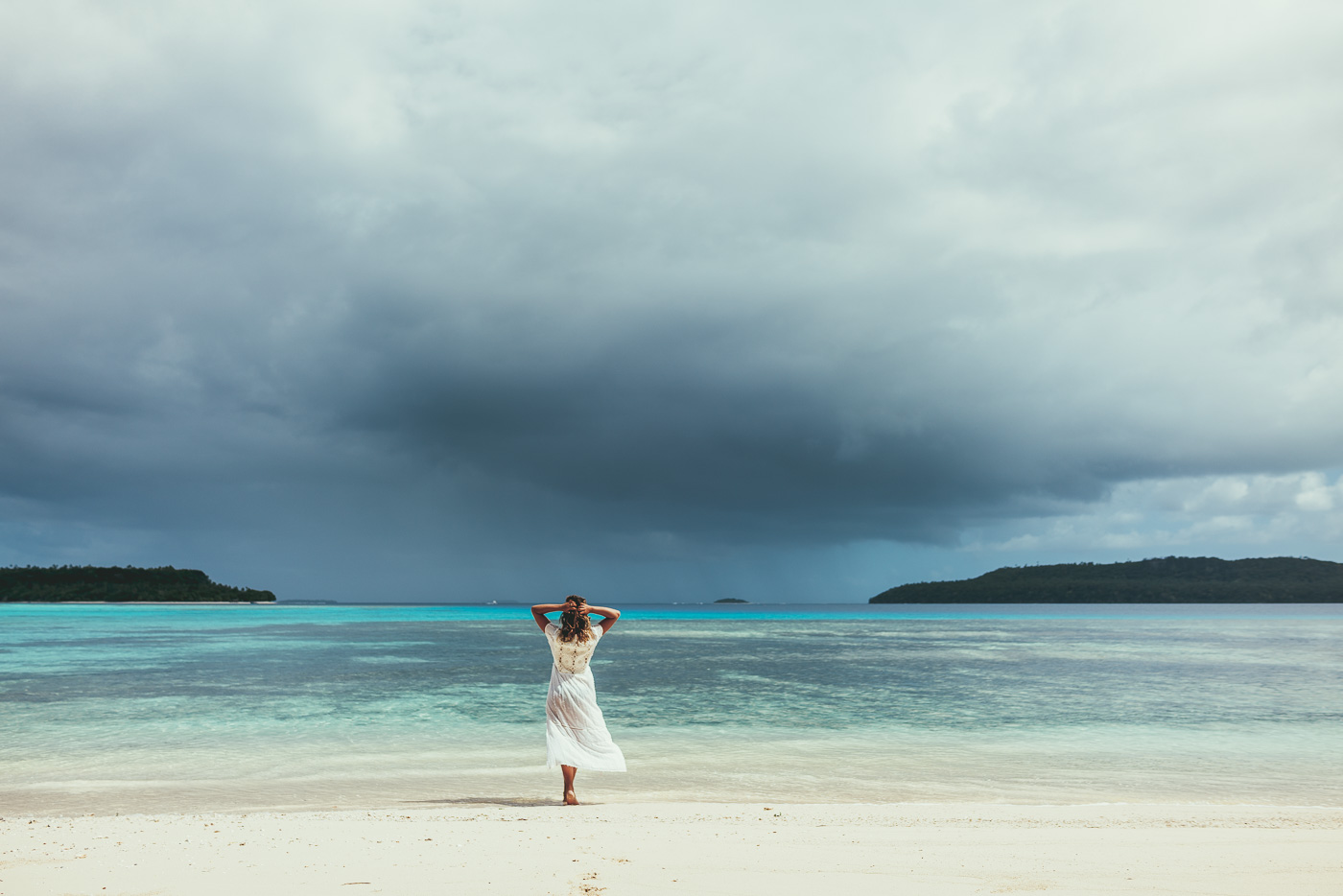 Mel at the beach during a storm in Vava'u Tonga