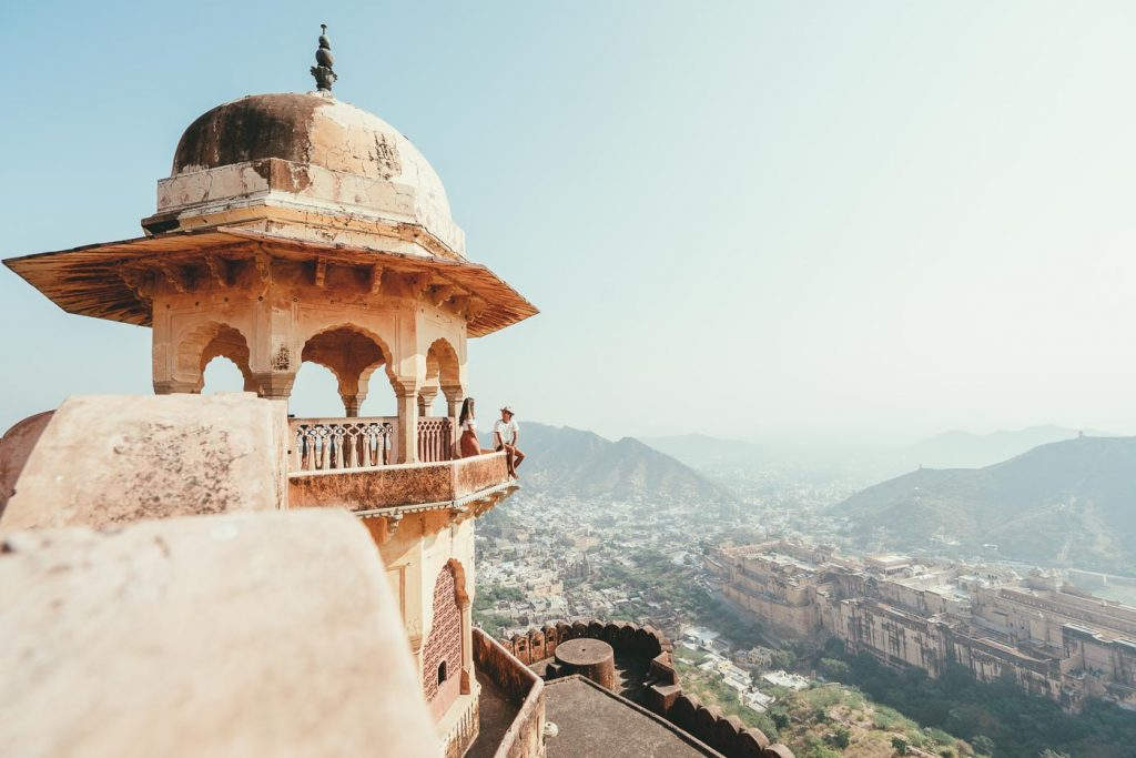 Overlooking the view of Amber Palace in Jaipur, India