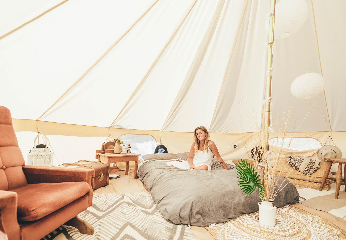 Jess Davis in a Bell Tent in New Zealand