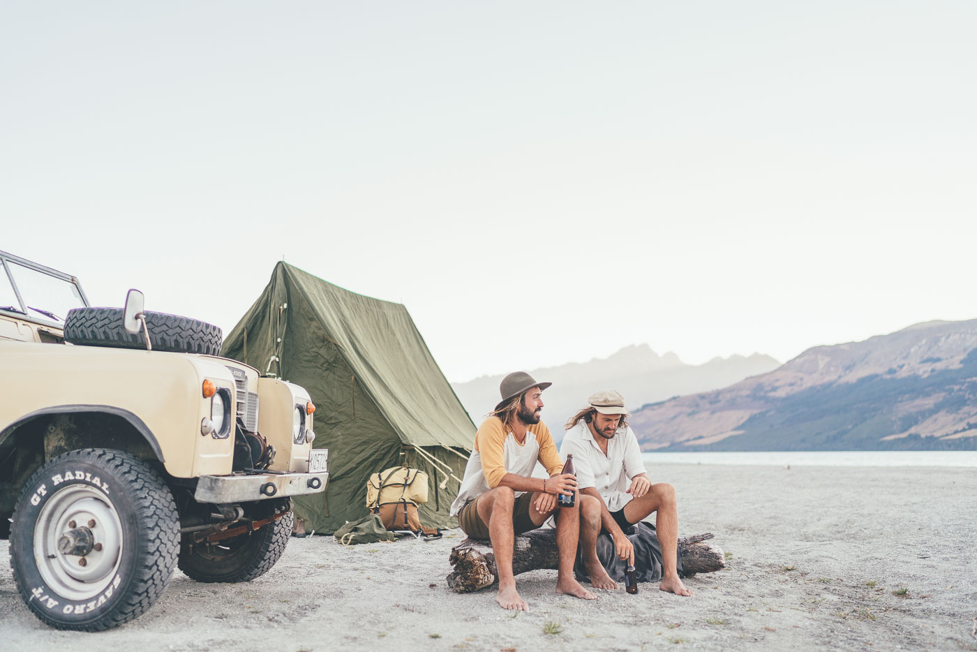 Photographer Stefan Haworth and Alexander Knorr sitting at a campsite in New Zealand on the Will and Bear Road trip