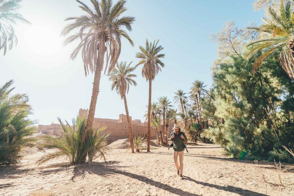 Photographer walking though Sahara desert Oasis, Morocco