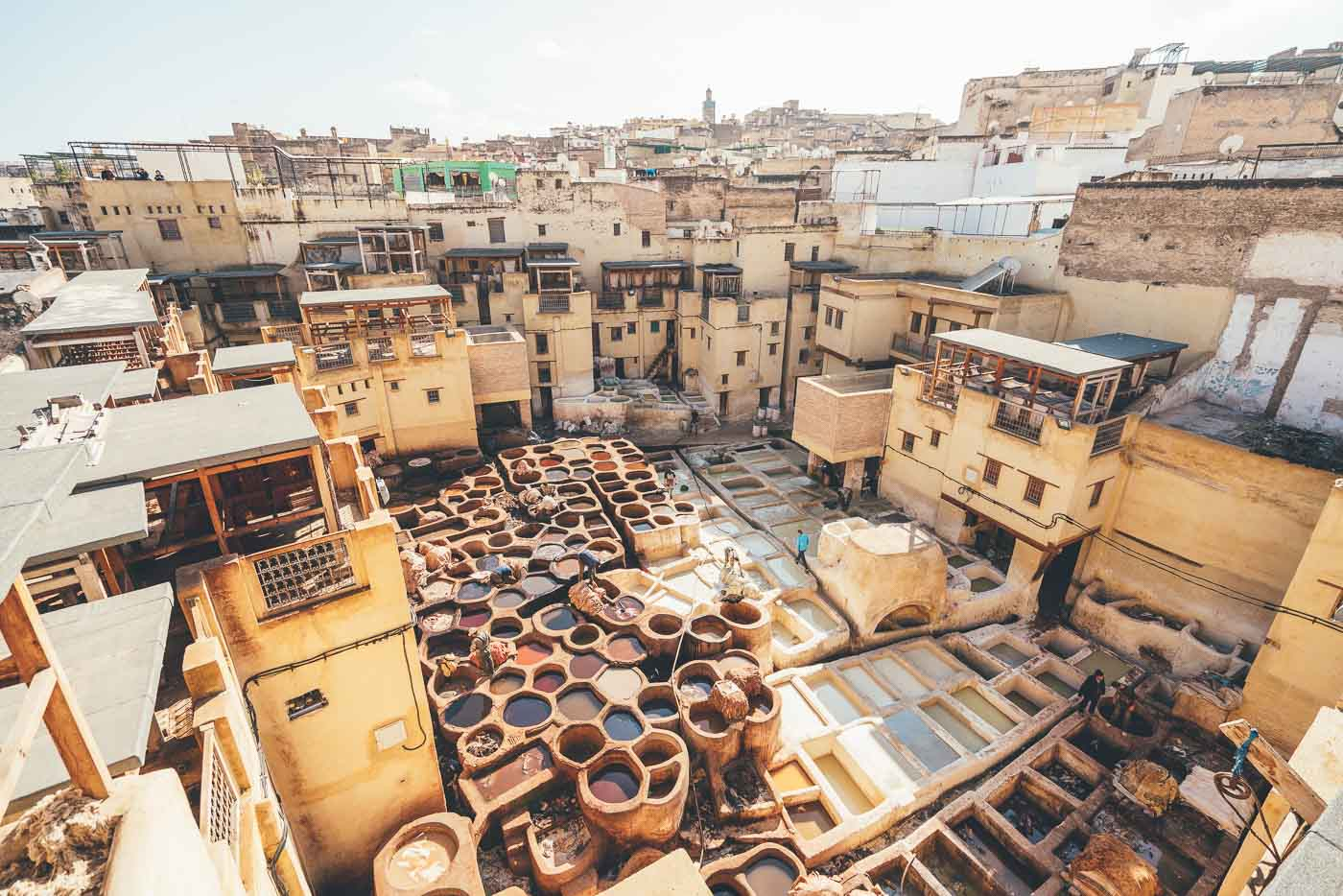 Leather tannery at Fes, Morocco